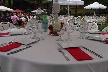 Table set up at Axelia Partners' garden party