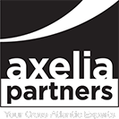 Logo of Axelia Parners in black and white